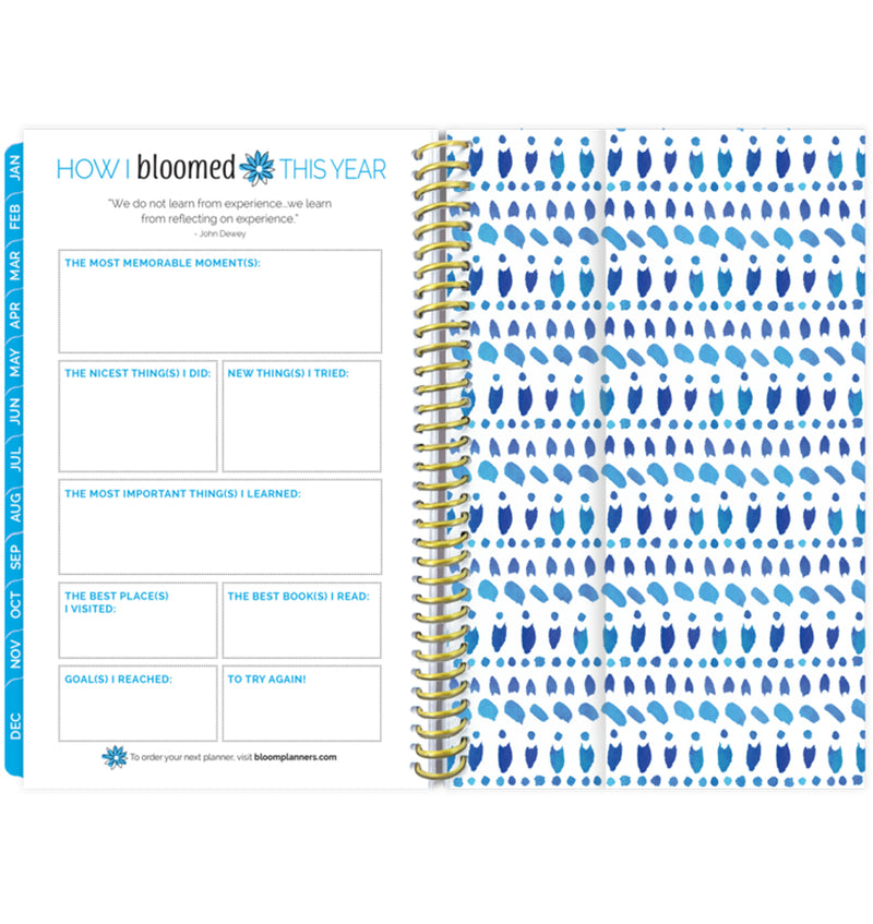 Bloom Make It Happen Daily Softcover Planner Undated How I Bloom This Year Pages and Vertical Pocket at the Back