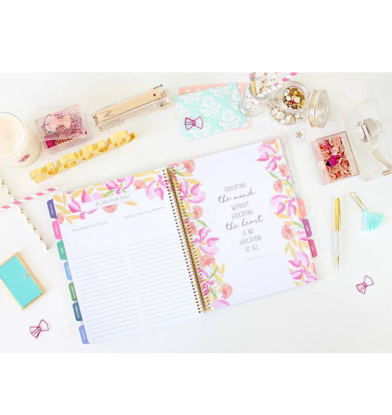 Bloom Marble Teacher Planner Undated Plan for a Month and Monthly Quotes Pages