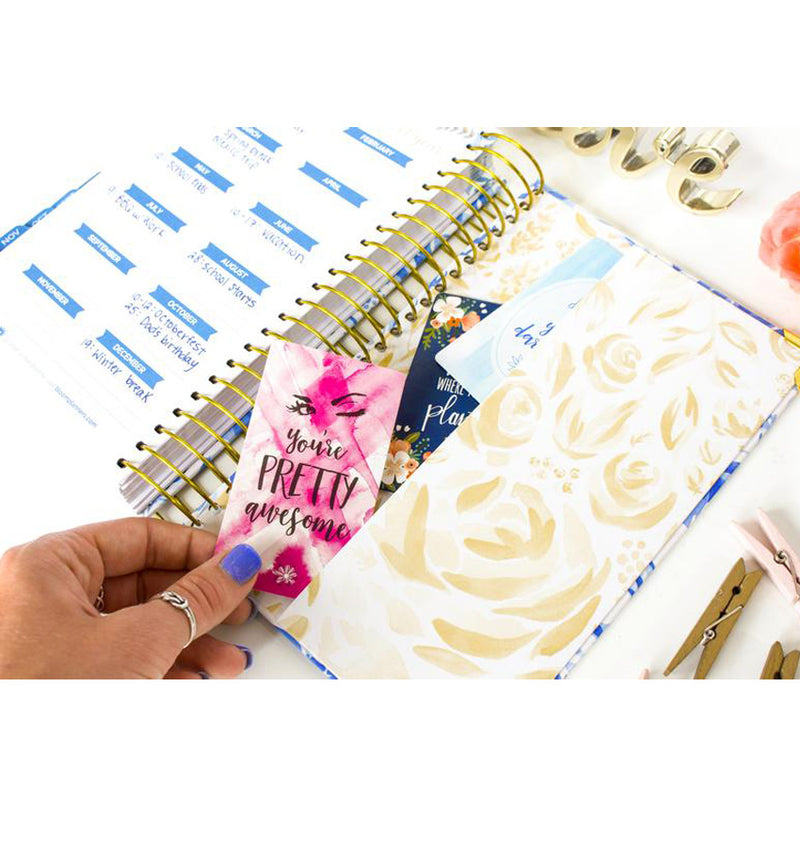 Bloom Blue Floral Daily To Do List Hardcover Planner Undated with Side Vertical Pockets/Sleeve