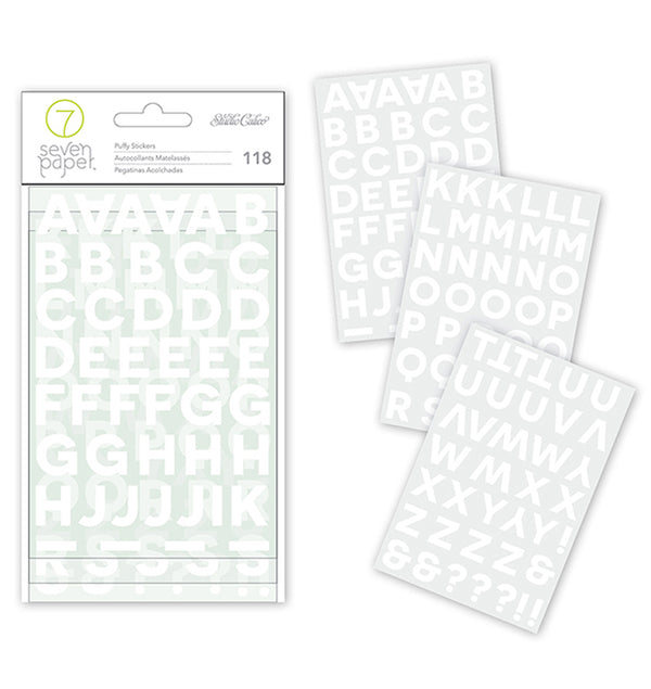Puffy White Alphabet Stickers