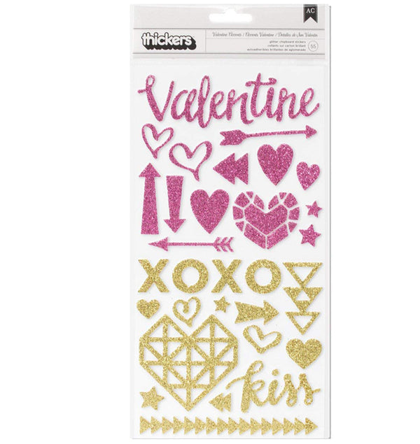 Valentine Accents Glitter Foam Thickers