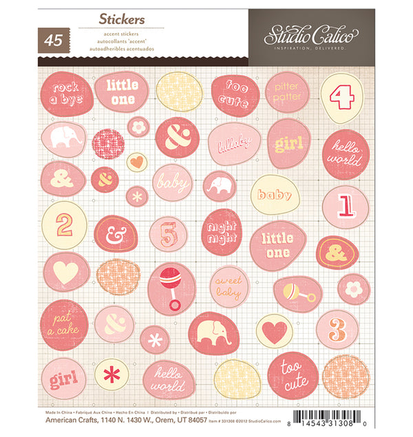 Pinkish Baby Girl 45pcs Stickers