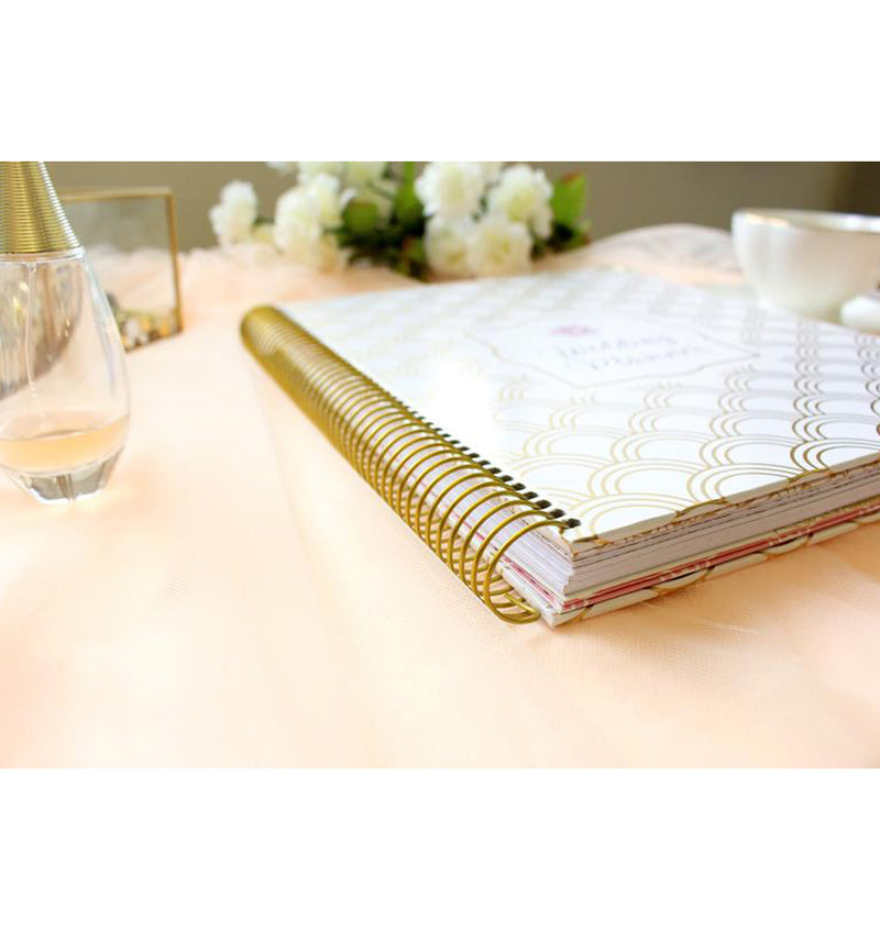 Bloom Gold Scallops Hardcover Wedding Planner Undated Side View with Binder