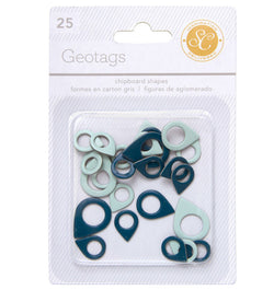 Blue/Aqua Geo-Tag Chipboard Shapes 25pcs