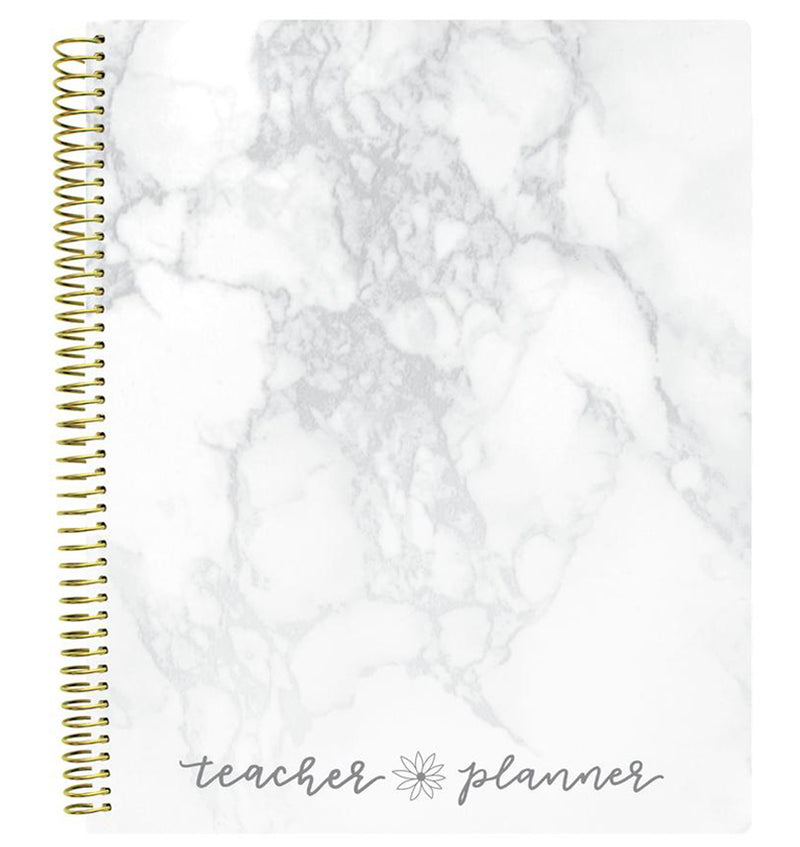 Bloom Marble Teacher Planner Undated Front Cover Design at Craftforher