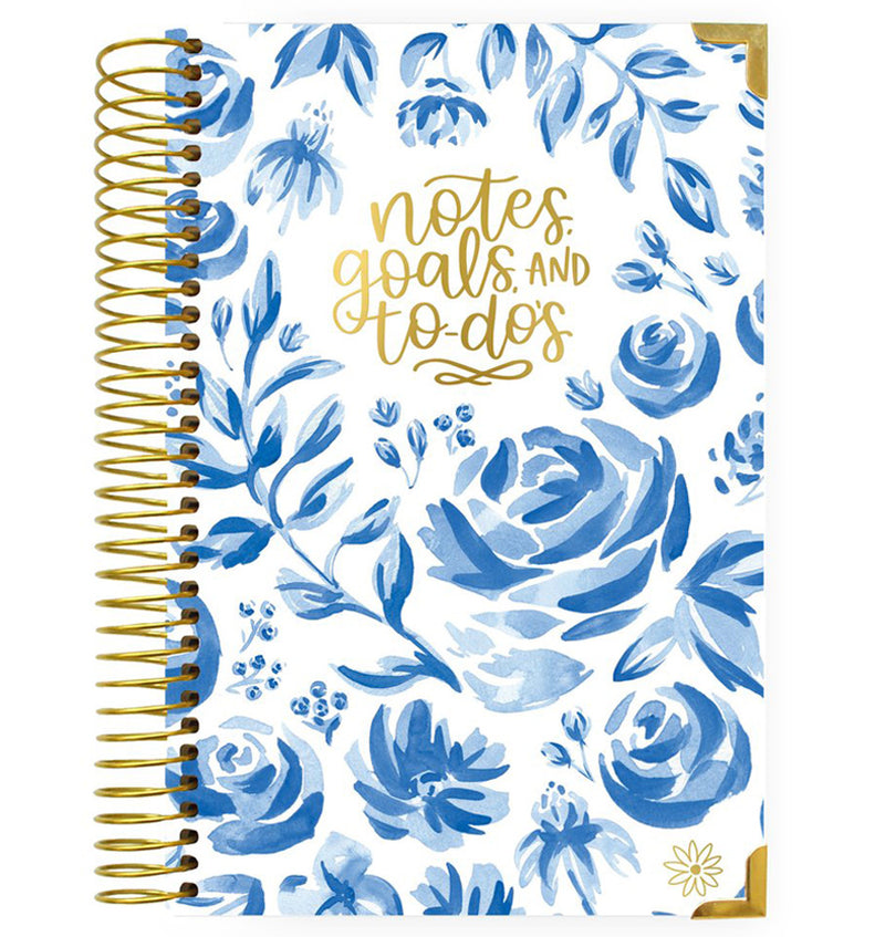 Bloom Blue Floral Daily To Do List Hardcover Planner Undated Cover at Craftforher