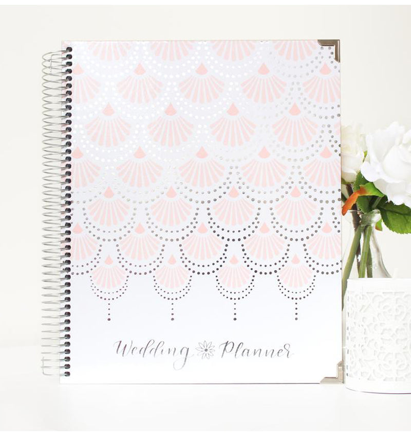 Standing Silver Scallops Hardcover Wedding Planner Undated with Binder