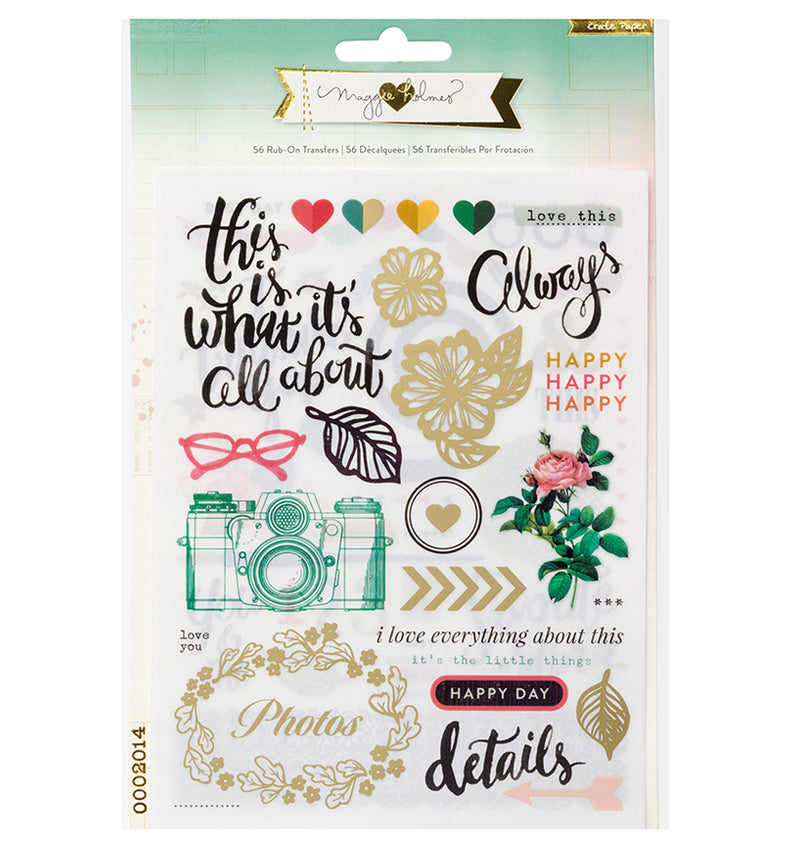 Phrases, Symbols, Icons Rub-Ons 56pcs