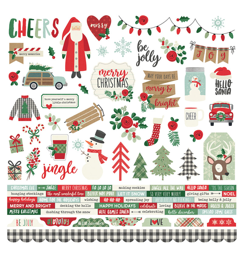 "Simple Stories Merry & Bright Collection Die-Cut Combo Sticker Sheet 12"" x 12"""