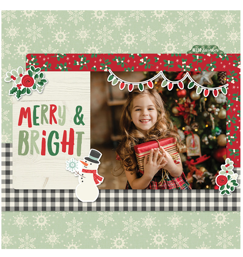 Completed Christmas Scrapbook Page Using Simple Stories Merry & Bright Collection Kit