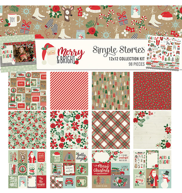 "Simple Stories Merry & Bright Collection Kit Includes Double-Sided 12"" x 12"" Cardstock Paper and Sticker Sheet, Front Cover Design at Craftforher"