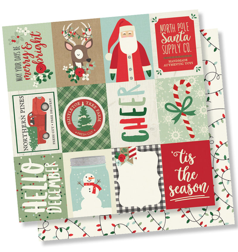 "Simple Stories Merry & Bright Collection Kit 4"" x 6"" Vertical Christmas Elements 12"" x 12"" Double- Sided Cardstock Paper"