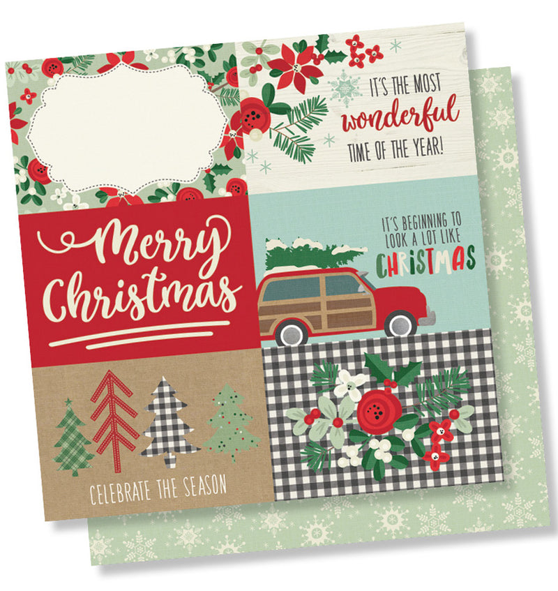 "Simple Stories Merry & Bright Collection Kit 4"" x 6"" Horizontal Christmas Elements 12"" x 12"" Double- Sided Cardstock Paper"