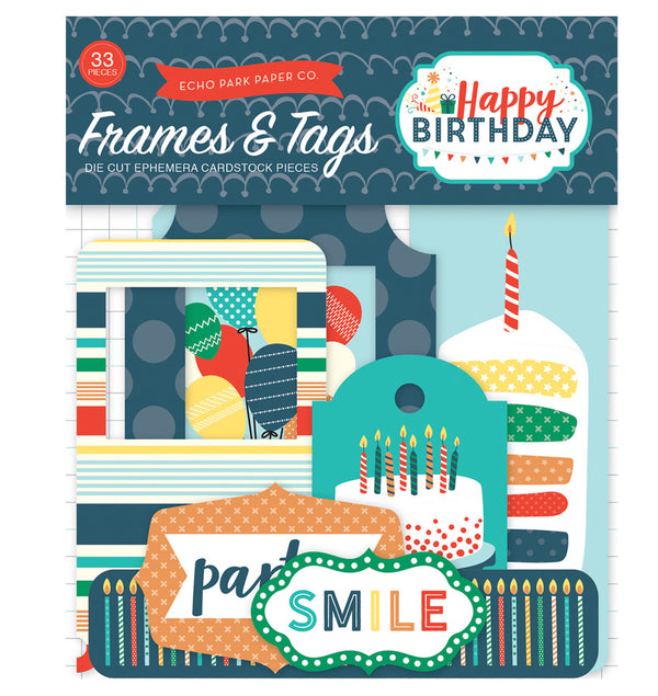 Happy Birthday Boy Frames & Tags 33pcs
