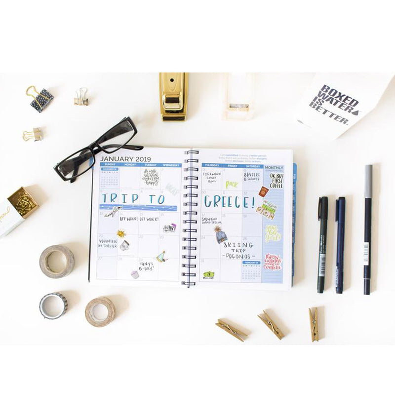 Bloom 2019 Hardcover Timed Planner with Planner Stickers and Writings for each day