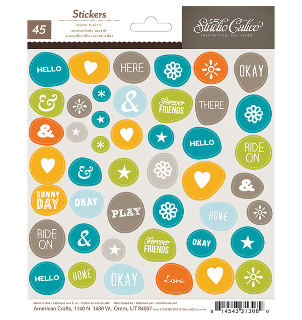Phrases, Symbol, Shapes Stickers in Wonky Circle 45pcs