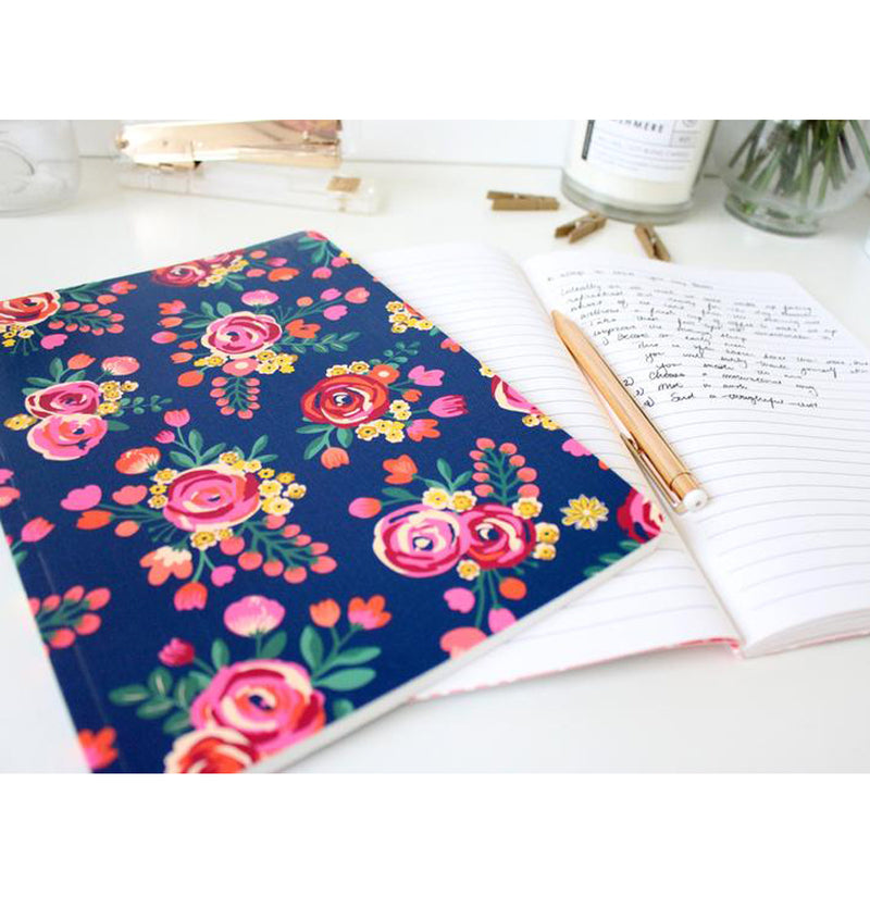 "Vintage Floral Softcover Notebook (7"" x 10"")"