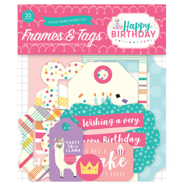 Happy Birthday Girl Frames & Tags 33pcs