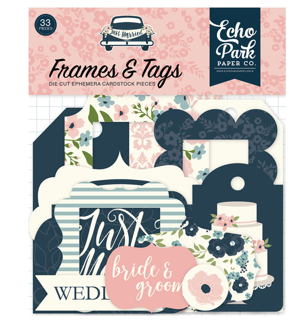 Just Married Frames & Tags 33pcs