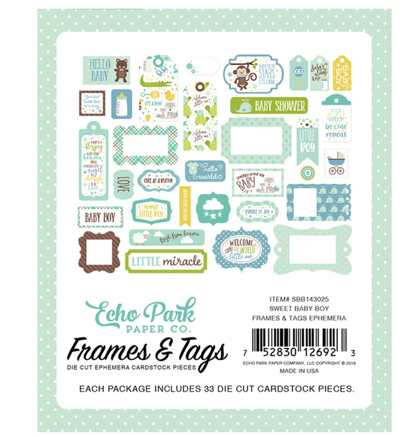 Sweet Baby Boy Frames & Tags 33pcs