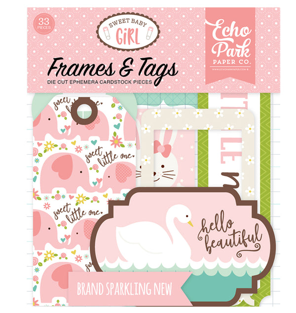 Sweet Baby Girl Frames & Tags 33pcs