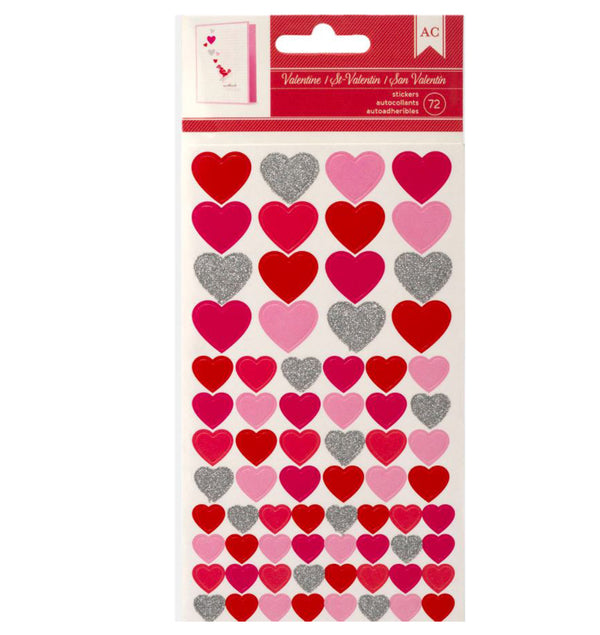 Red, Pink & Silver Glitter Heart Stickers