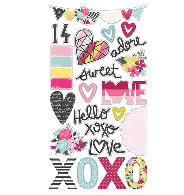 Love & Adore 6 x 12 Chipboard Stickers