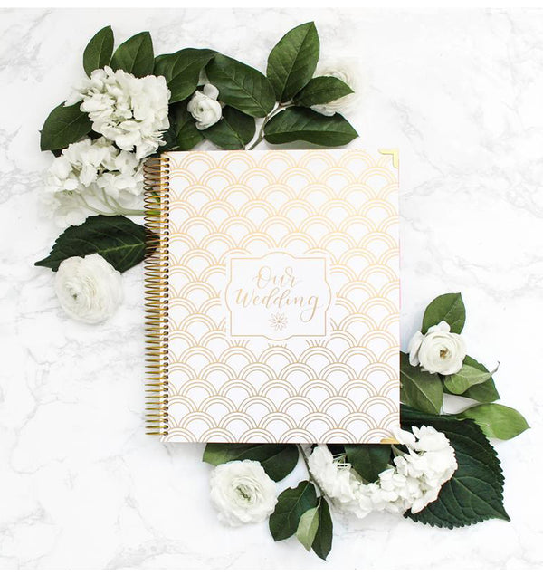 Gold Scallops V2 Hardcover Wedding Planner Undated