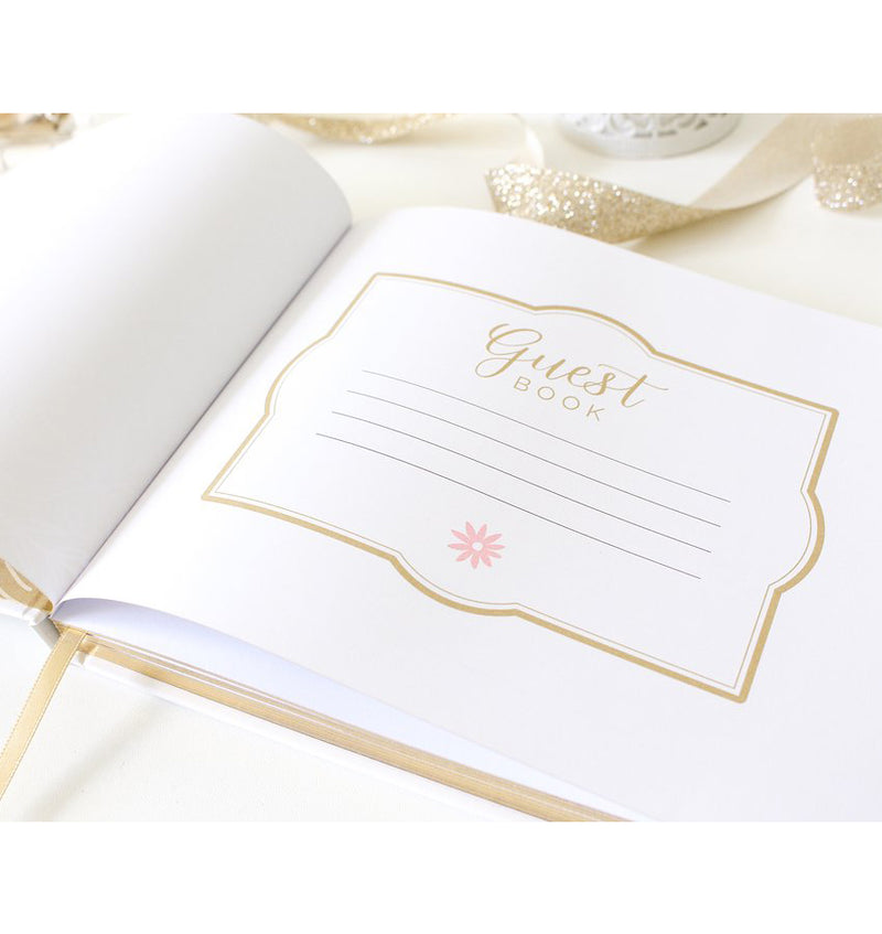 Floral Gold Foil Hardcover Guest Book