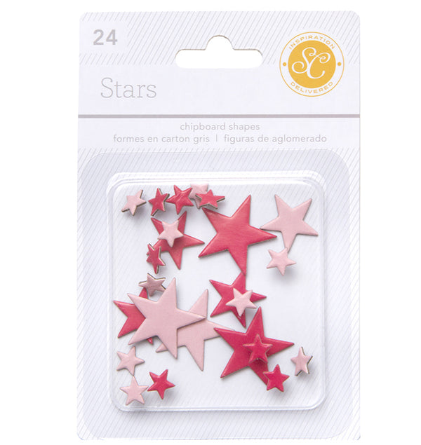 Red/Pink Star Chipboard Shapes 24pcs