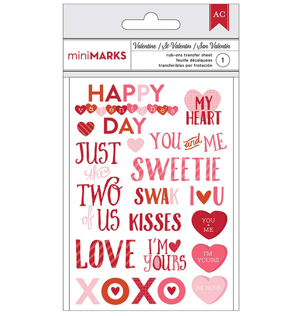 Valentine's Hearts Themed Phrase Rub-Ons