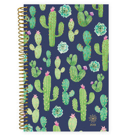 Bloom Navy Cacti 2019 Soft Cover Daily Planner Front Cover Design at Craftforher