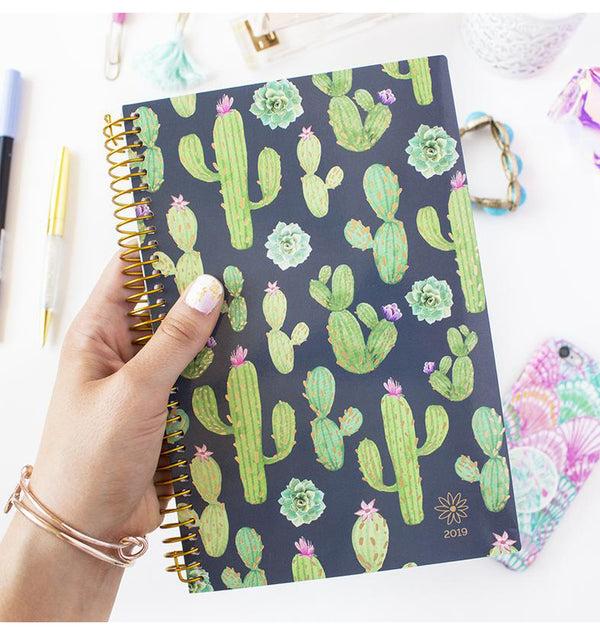 Holding a Bloom Navy Cacti 2019 Soft Cover Daily Planner