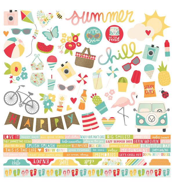 "Simple Stories Summer Days Collection Kit Die-Cut Combo Sticker Sheet 12"" x 12"" Designs"