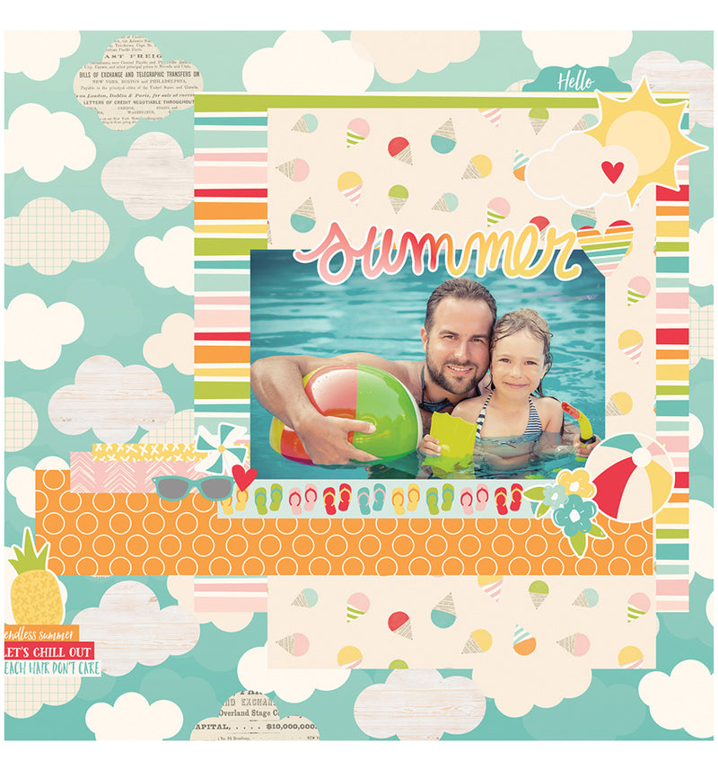 Completed Scrapbook Paper Design Using Simple Stories Summer Days Collection Kit