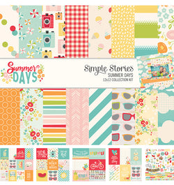"Simple Stories Summer Days Collection Kit Includes 12"" x 12"" Cardstock Paper and Sticker Sheet Front Cover Design at Craftforher"
