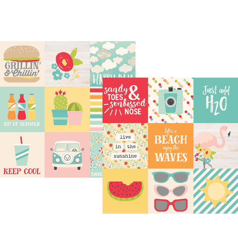 "Simple Stories Summer Days Collection Kit, 4"" x 4"" Elements 12"" x 12"" Double-Sided Cardstock Paper"