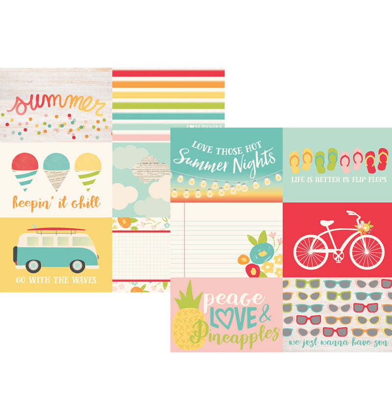 "Simple Stories Summer Days Collection Kit, 4"" x 6"" Horizontal Element 12"" x 12"" Double-Sided Cardstock Paper"