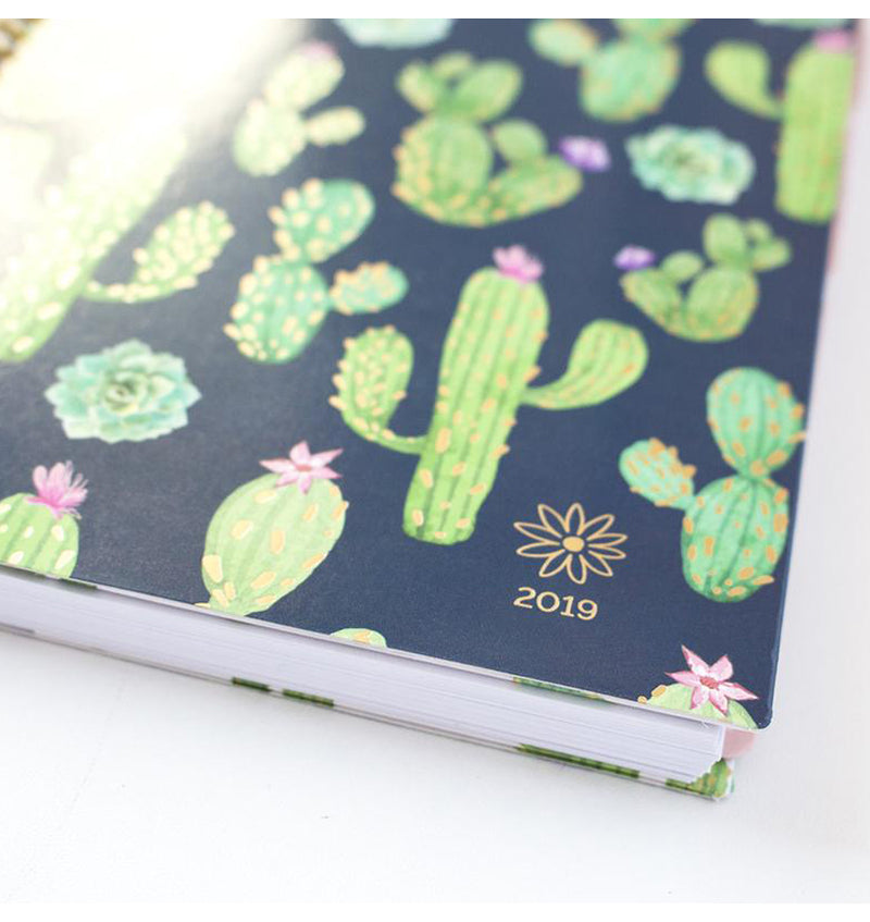Bloom Navy Cacti 2019 Soft Cover Daily Planner Side View