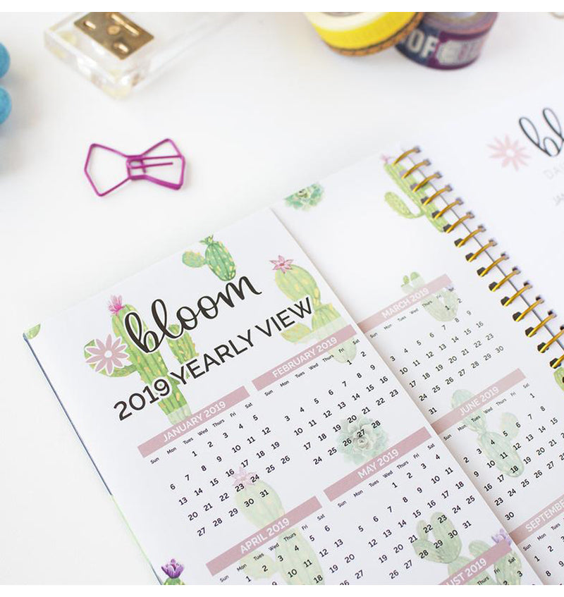 Bloom Navy Cacti 2019 Soft Cover Daily Planner Front Page Vertical Side Pocket Sleeve with Yearly View Calendar
