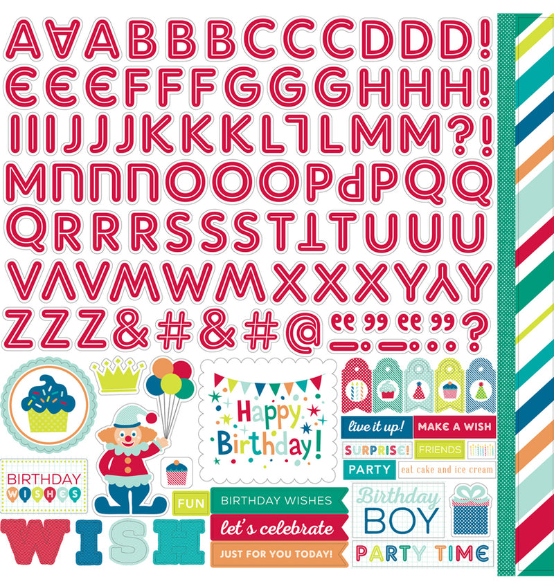 Birthday Wishes Boy Alpha Cardstock Stickers