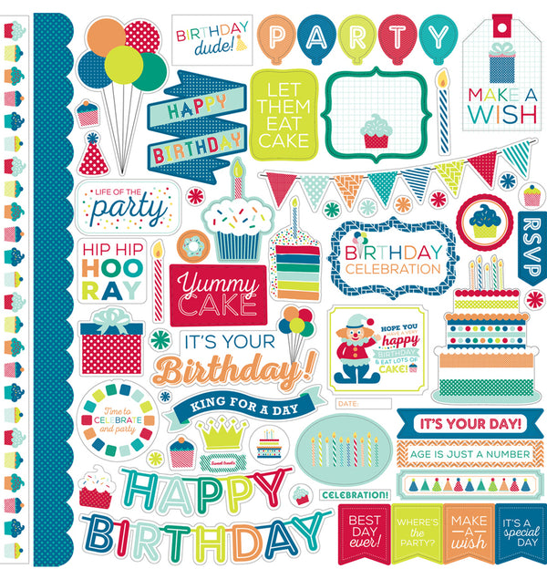 "Echo Park Birthday Wishes Boy Element Sticker Sheet 12"" x 12"""