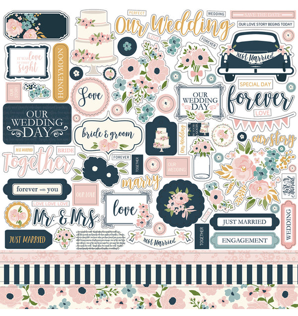 "Echo Park Just Married Collection Sticker Sheet 12"" x 12"""