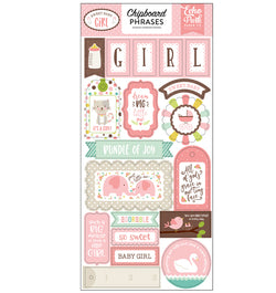 Sweet Baby Girl Chipboard Phrases Stickers