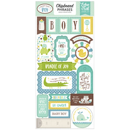 Sweet Baby Boy Chipboard Phrases Stickers