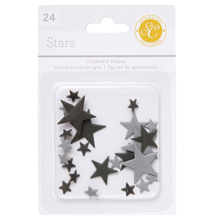 Black Grey Star Chipboard Shapes 24pcs
