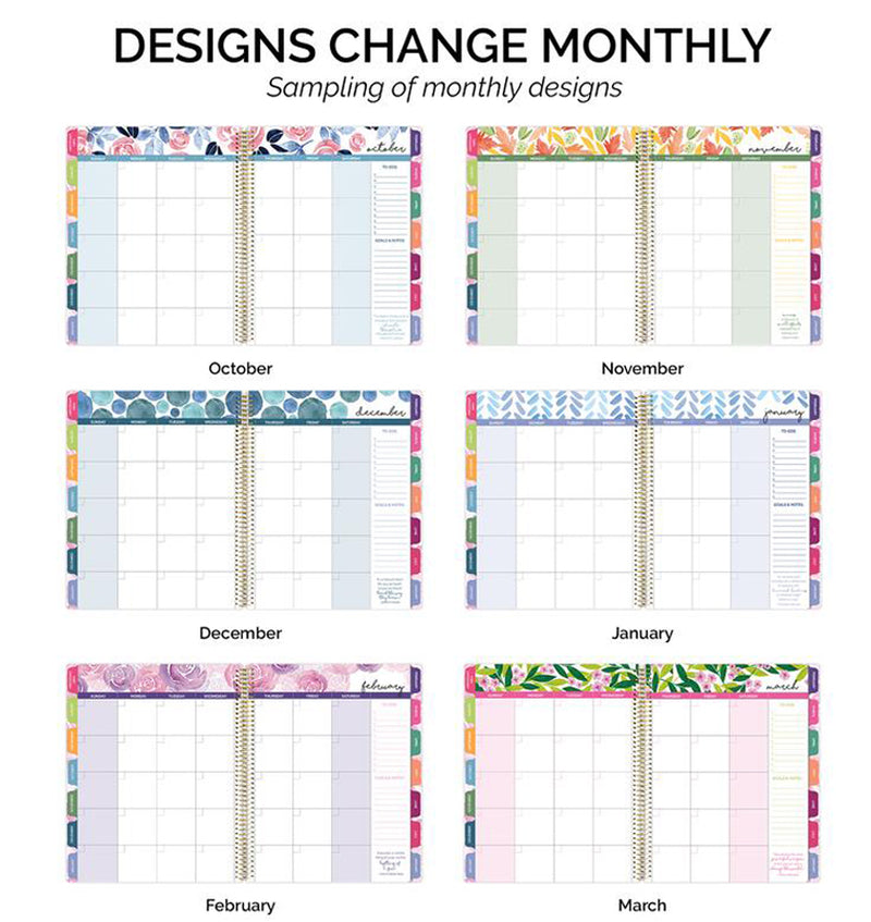 Bloom Marble Teacher Planner Undated Monthly View Various Designs Pages
