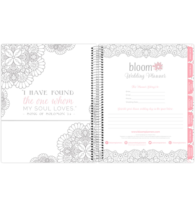 Silver Scallops Hardcover Wedding Planner Undated Front Page with Side Pocket Sleeve for Storage