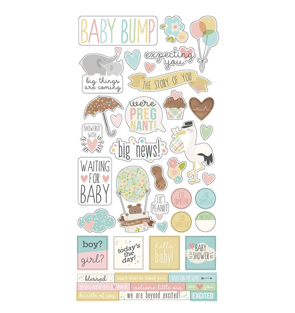 "Simple Stories Oh, Baby! Expecting Collection Kit 6"" x 12"" Sticker Sheet"