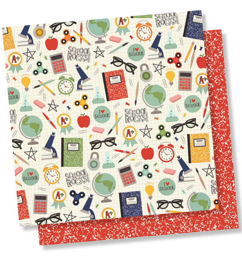 "Simple Stories School Rocks Collection Kit, I Love School 12"" x 12"" Double-Sided Cardstock Paper"
